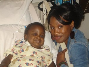 Sharee with her son Jonathan at Texas Children's Hospital in Houston, Texas